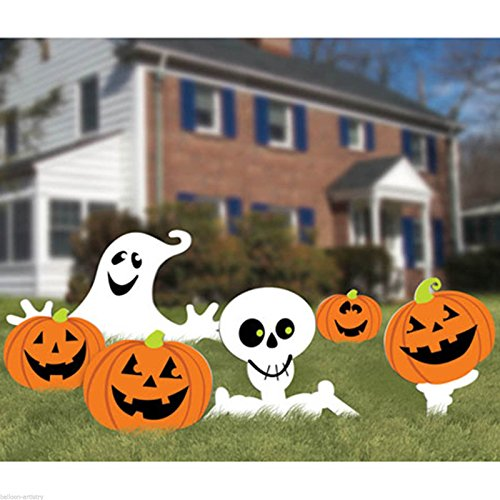 amscan Family Friendly Skeleton and Ghost Corrugate Yard Stake Signs Halloween Trick or Treat Party Outdoor Decoration, Plastic, 20