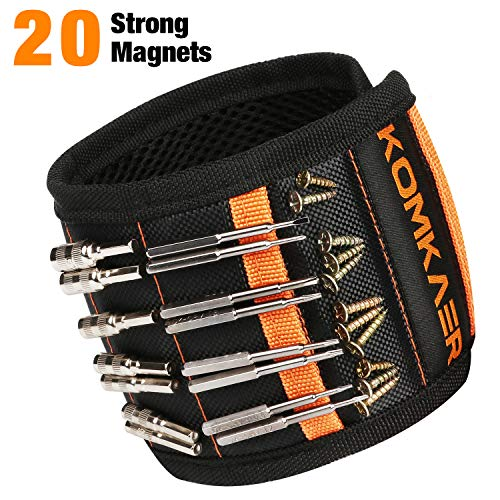 Magnetic Wristband, Komkaer Wrist Band Tool Belt for Holding Screws, Tools, Nails, Drilling Bits, Bolts other Metal Parts, Birthday Gift for Husband, Father, Boyfriend Handyman (20 Powerful Magnets)