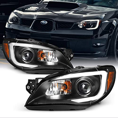 For 2006-07 Subaru Impreza LED Daytime Running Lamp Strip Projector Headlights Black Housing Clear Lens Full Set
