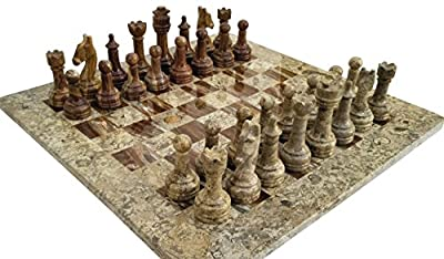 16 Inches Dark and Light Brown weighted chess set - Unique chess set with 32 chess pieces - Large Marble Chess Set ideal for Home Décor - Best tournament chess set & home décor Gifts