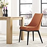 Modway Viscount Mid-Century Modern Upholstered Fabric Dining Chair In Orange For Sale