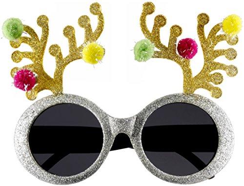 Forum Novelties Novelty Holiday Glasses, Reindeer Antler, One Size - Holiday Glasses