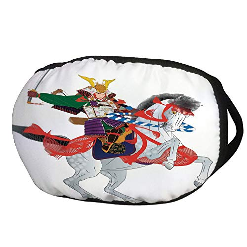 (Fashion Cotton Antidust Face Mouth Mask,Japanese,An Asian Soldier with Local War Clothes Armour Riding a Prancing Horse Illustration,Red Green,for women & men)