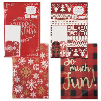 GIFT BOX SET 2PK W/TAGS & TISSUE 9.5 X 14.75 X 2IN 4AST PRINTS, Case Pack of 48 by DollarItemDirect