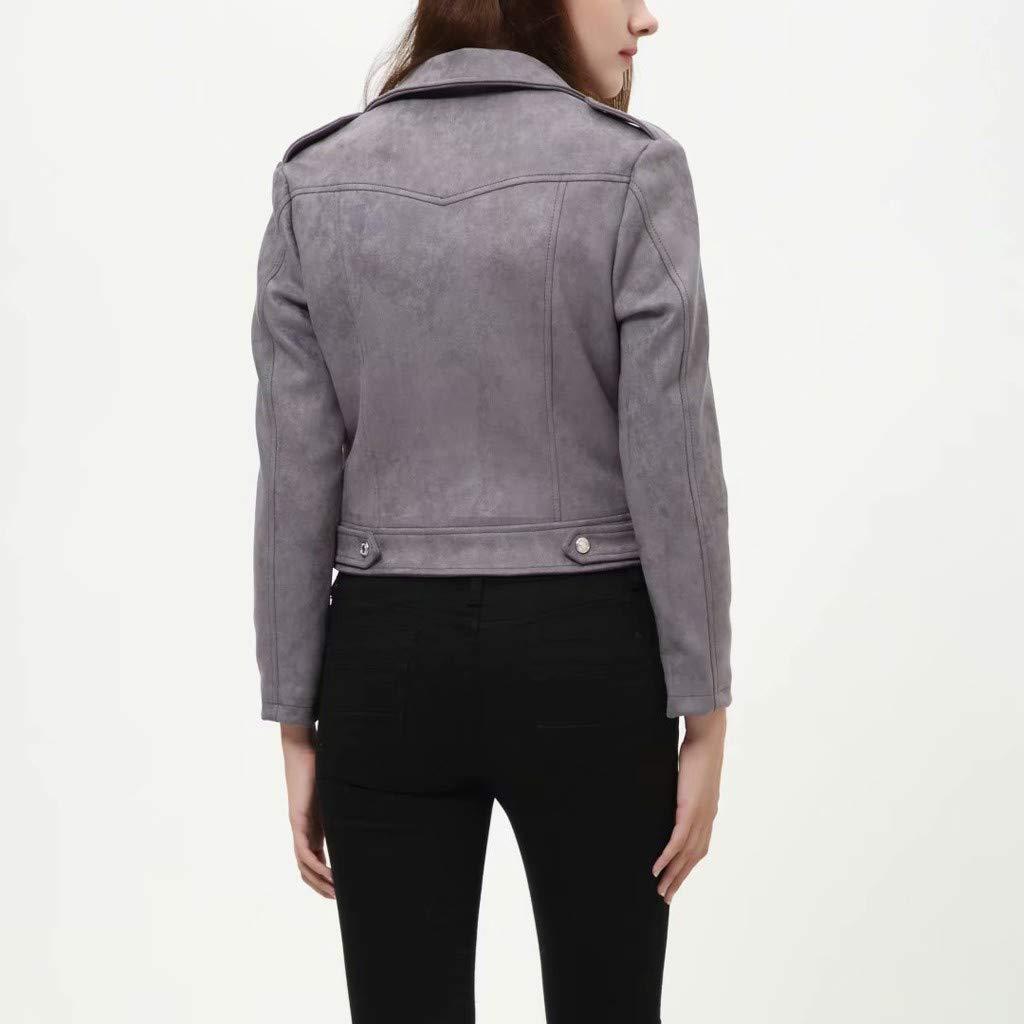 Women's Faux Suede Jacket Lapel Short Bomber Jacket Coat Zipper Long Sleeve Moto Motorcycle Jacket Biker Jacket Coat by Hatop-