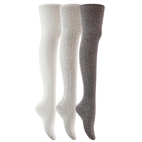 Lovely Annie Big Girl's 3 Pairs Fashion Thigh High Cotton Socks Over the Knee High Leg Wamers A2JMYP1025 Size L/XL(Dark Grey,Grey, ()