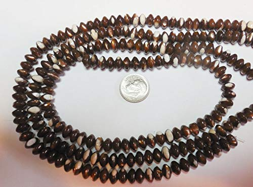 World's Natural Treasures - Fabulous Mother of Pearl MOP Golden Bronze Shell Rondelle Beads 8x5mm 7.5 Strand