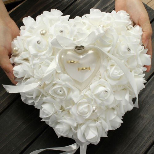 - Yosoo 15x13cm Romantic Rose Wedding Favors Heart Shaped Pearl Gift Ring Box Pillow Cushion Ring Box Heart Favors Wedding Ring Pillow Jewelry Case with an Elegant Satin Flora (White)