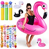 FUN LITTLE TOYS 14 PCs Inflatable Flamingo Pool Float with Drink Holders, Water Blasters, Hawaiian Leis and Waterproof Backpack, Swimming Pool Party Favors Set for Kids and Adults