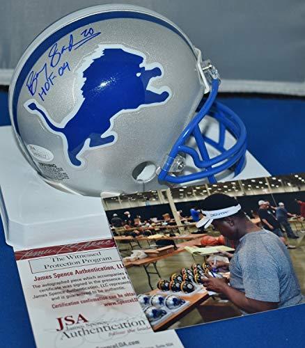 2004 Authentic Throwback Helmet - Barry Sanders Autographed Signed Memorabilia Throwback Mini Helmet Detroit Lions Hof 2004 - JSA Authentic