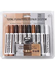 Meubelpennen voor hout, 10PCS meubelreparatieset Houtmarkeringen Waxsticks, houtreparatieset met puntenslijper voor krasreparatie, houtretouchering, reparatieretouchering