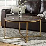 WE Furniture Modern Round Coffee Accent Table Living Room, 36 Inch, Walnut Brown, Gold