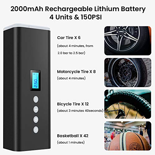 Warmfunn Compressore d\'Aria Portatile 150PSI, Compressore Digitale Batteria Ricaricabile 2000 mAh, Aria Mini Pompa con Luce LED di Emergenza, Accendisigari 12V per Auto, Moto, Palloni e Biciclette