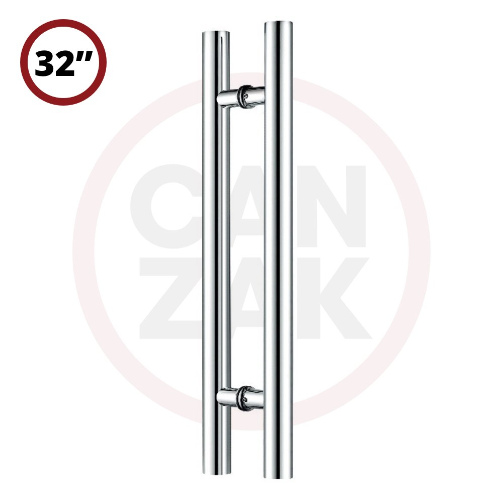 Canzak 32 inch Brushed Stainless Steel Pull Push Door Handles, Interior or Exterior, Contemporary, Modern