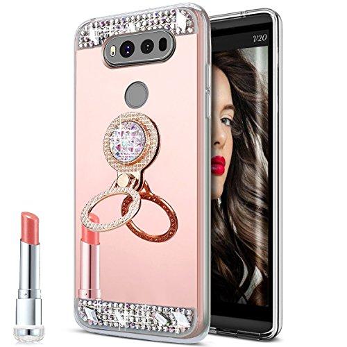 LG V20 Case,LG V20 Mirror Case, Slim Luxury Hybrid Rhinestone Diamond Glitter Bling Mirror Back Shock-Absorption TPU Bumper Protective Case with Ring Stand Holder for LG V20,Rose Gold