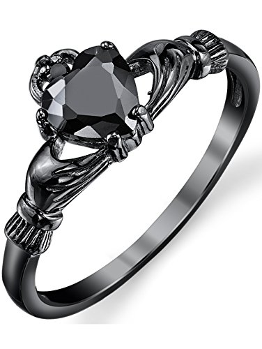 Black Sterling Silver Irish Claddagh Friendship & Love Ring Heart Ring with Black Cubic Zirconia SZ 6 (Irish Heart Ring compare prices)