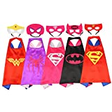 Zhitunemi Superhero Dress Up Costumes for Boys and Girls 5 Satin Capes with Felt Masks Comics Cartoon Dress Up
