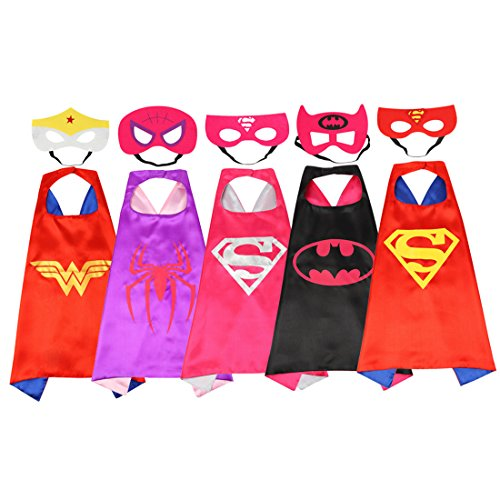 Halloween Superhero Dress Up Costumes for Boys and girls-5 Satin Capes with Felt Masks Comics Cartoon Dress Up Kids Toys