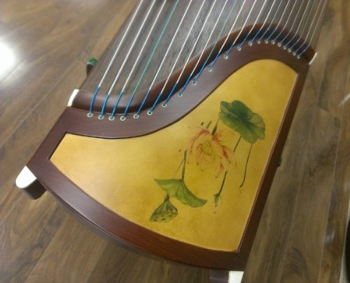 53'' Travel-size 21-stringed Rosewood Guzheng with Chinese Painting by Sound of China