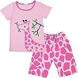 #10: Pajamas for Girls Little Kid Short Sets 100% Cotton Clothes Giraffe Sleepwears