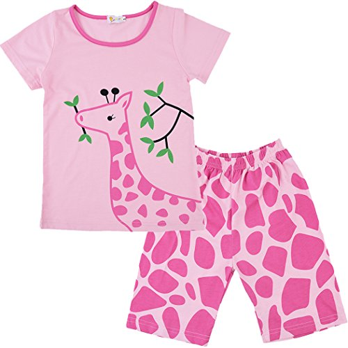 (Little Hand Kids Deer Pajamas Sets Toddler 2 Piece Sleepwear Giraffe Summer Clothes for Girls Pjs 3 4 T)