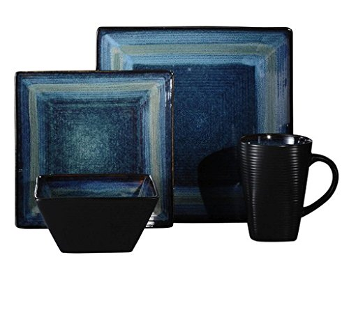 32-Piece Blue Square Highly Durable Stoneware Dinnerware, Dishwasher Safe And Microwave Safe,