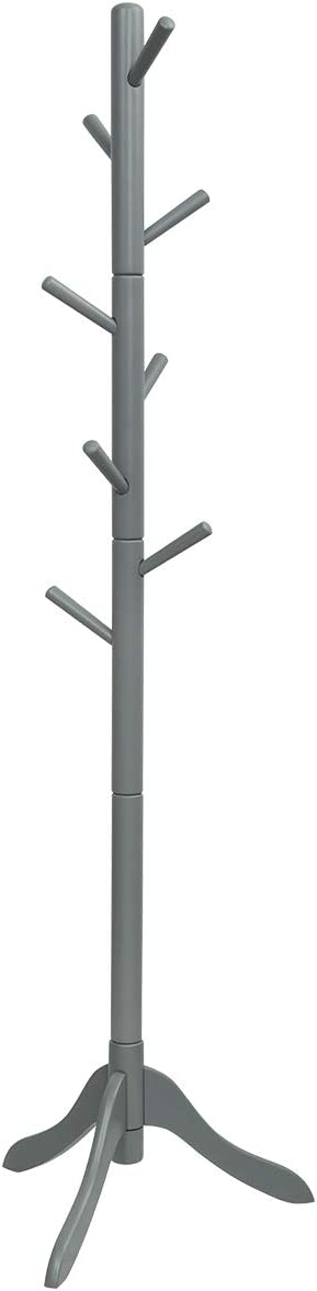Tangkula Wooden Tree Coat Rack, Entryway Coat Stand with 8 Hooks, Height Adjustable Coat Tree, Coat Hanger Stand for Home Office Hall Entryway