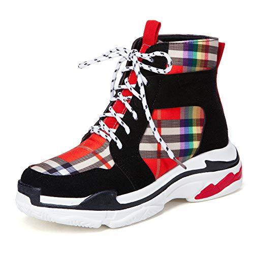 (AnMengXinLing Women Tactical Sport Boot Enforcer Ultralit Memory Foam Lace Up Fashion Sneaker Soft Street Waterproof Combat Hiking Boot (12 B(M) US, Black))