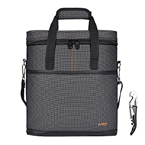 Kato Insulated Wine Carrier - 3 Bottle Travel Wine Carry Cooler Tote Bag with Handle and Shoulder Strap + Free Corkscrew, Gray