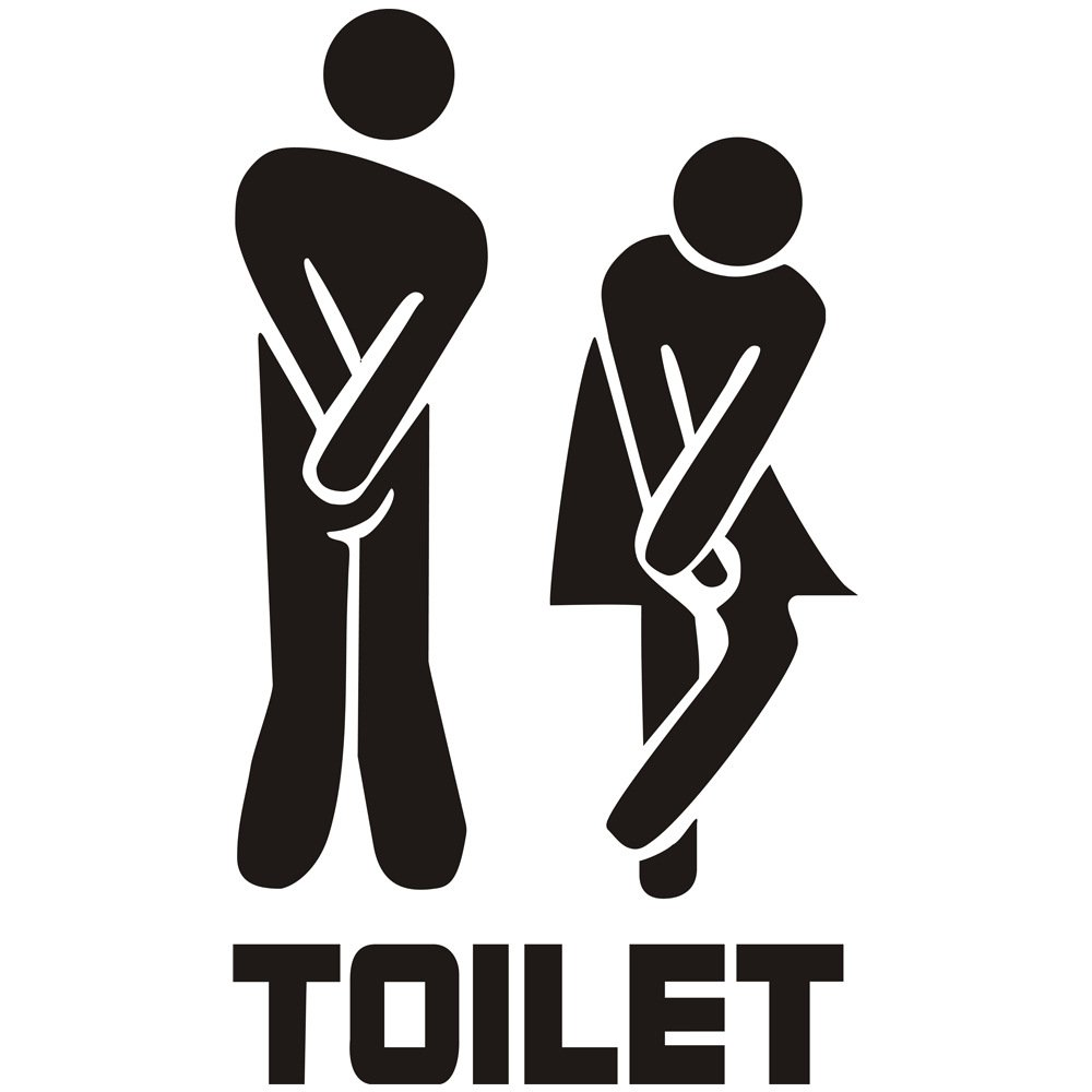 Potelin Unisex Toilet Sign Decal Creative Toilet Entrance Sign Sticker Wall Decals Hotel Washroom Wall Door Stickers Decor