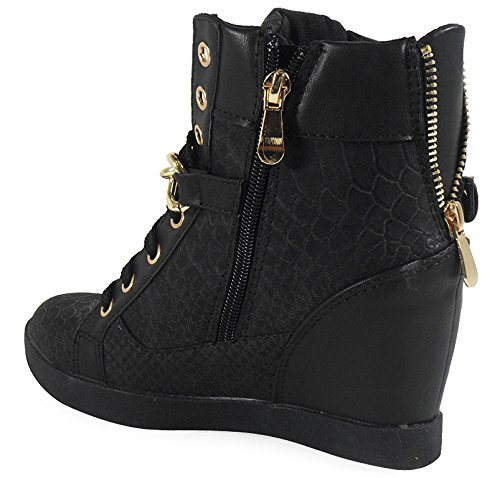 LoudLook New Womens Ladies Ankle Lace Up Gold Flat Hi-Top Wedge Shoes Boots Trainers Size 3-8 UK 2 Colours Black Croc hgpo4aN2t4