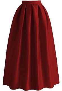 db968e110f Get The Looks Full Pleated Midi Satin Skirt 2 Red/Black/Multi at ...