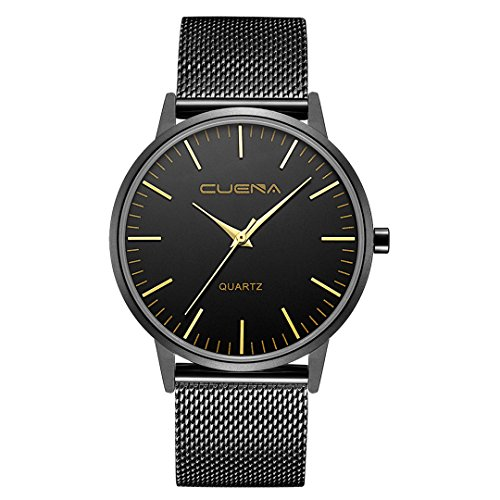 Men's Wrist Watch, Business Casual Analog Quartz Watch with Slim Mesh Band Silver Dial by CUENA (Black)