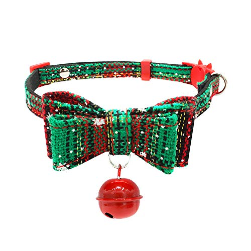 (Funnmart New Year 2019 Christmas Decor Xmas Toys Christmas Adjustable Printed Collar with Bell Dog Puppy Pet Cat Collars Toy Gifts Kerst)