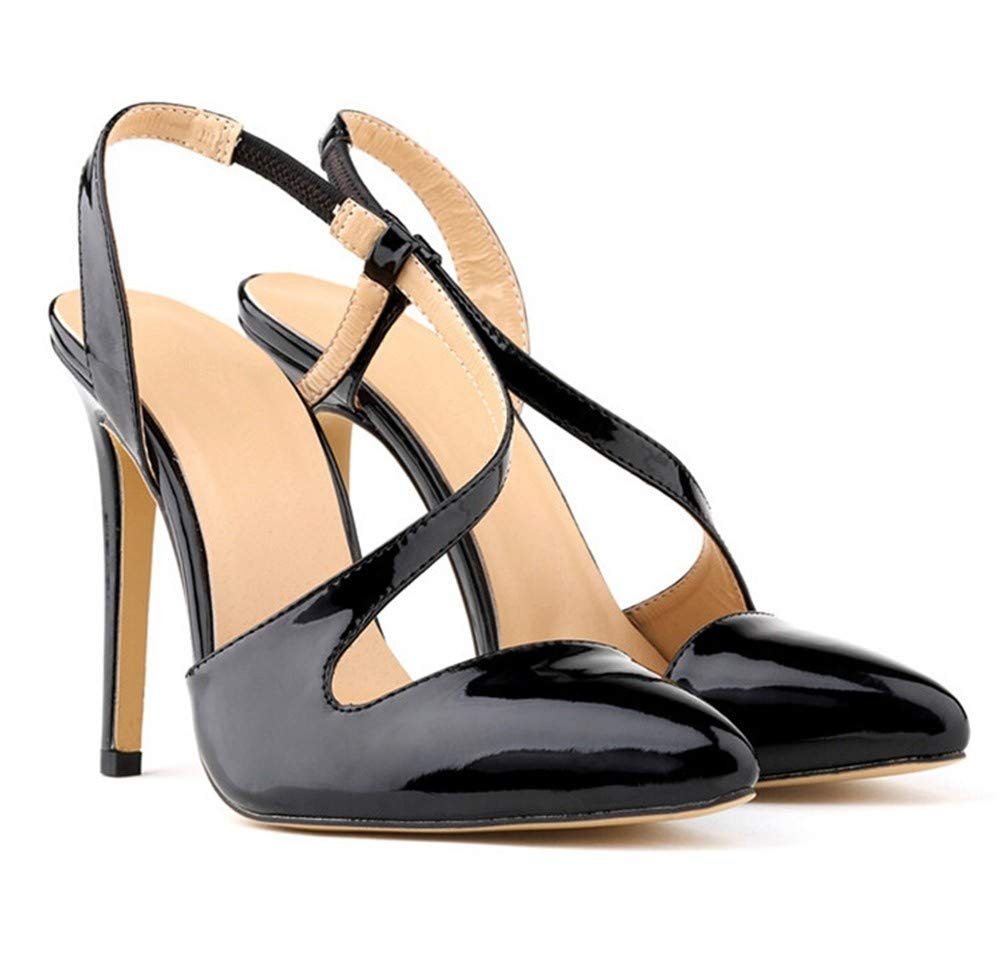J FLYRCX Chaussures Dames de Mode tempérament élégant Couleur Cuir Verni personnalité Sexy Talons Hauts Chaussures de soirée 41 EU