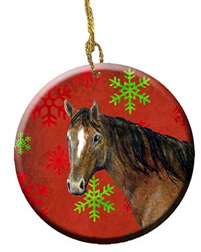 Carolines Treasures SB3121CO1 Horse Red Snowflakes Holiday Christmas Ceramic Ornament 3 in Multicolor