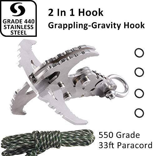 (Mutifunctional Gravity Hook-Folding Grappling Hook,Stainless Gravity Carabiner With Serrated Mechanical Claws For Outdoor Survival,Utilitarian Hiking Camping Climbing)