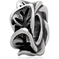 Leaf Spacer Beads 925 Sterling Silver Beads Charm 3mm Snake Chain Bracelets