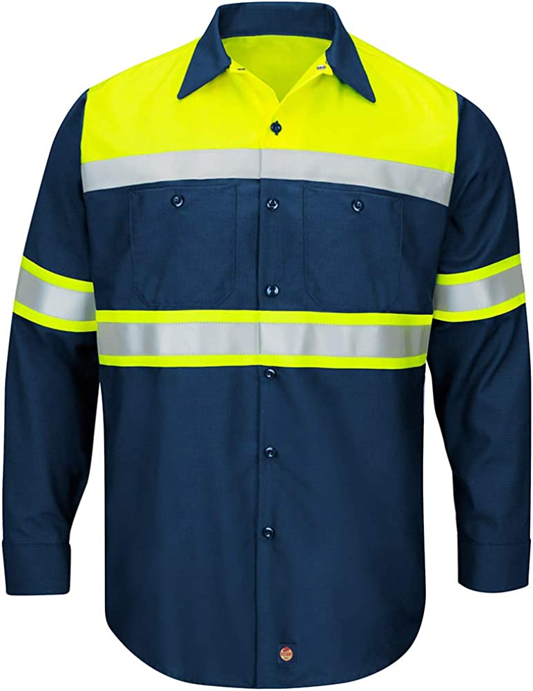 Red Kap Men's Hi-vis Ls Colorblock Ripstop Work Shirt-Type O, Class 1: Clothing