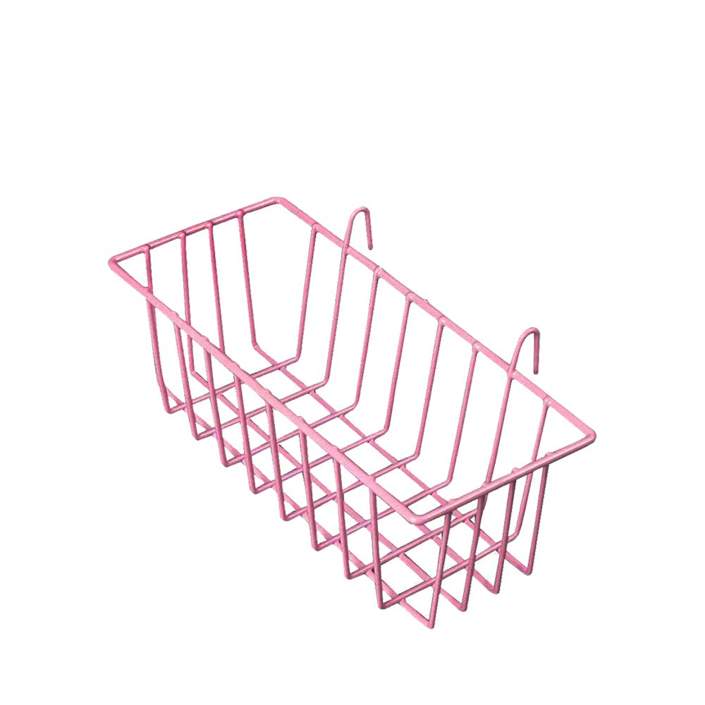 Surethingz Pink Mesh Wire Hook Basket, Multifunction Metal Wall Grid Panel Accessories Mounted Organizer Balcony Plant Holder Storage 190