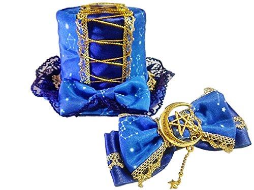 Voltron Costume For Sale (GLK Kawaii Cosutume Japanese Lolita Style Pentagram Star Ribbon Hair Clip Mini Top Hat Cosplay Set)