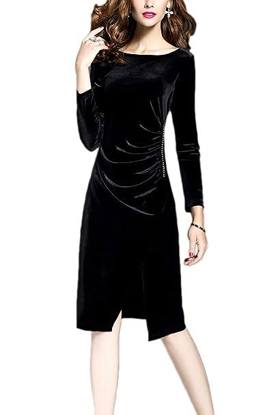 Fasumava Plus Tamaño Vestido Invierno Mujer Elegante Terciopelo Fruncido Vestidos Bodycon: Amazon.es: Ropa y accesorios