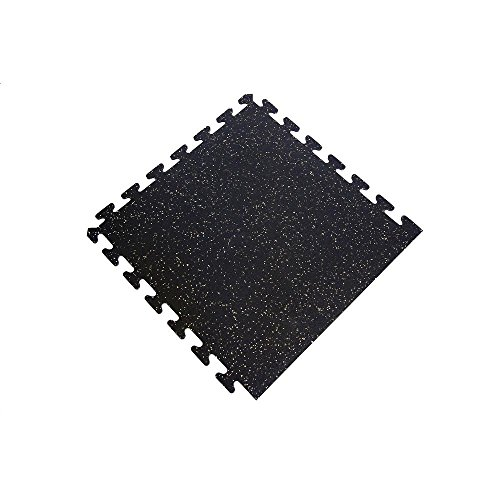 Black with Tan Speck 24 in. x 24 in. Finished Side Recycled Rubber Floor Tile (16 sq. ft./ case) by I-Flex