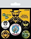 Breaking Bad - Los Pollos Hermanos, Heisenberg 1 X 38mm & 4 X 25mm Chapas Set De Chapas (15 x 10cm)