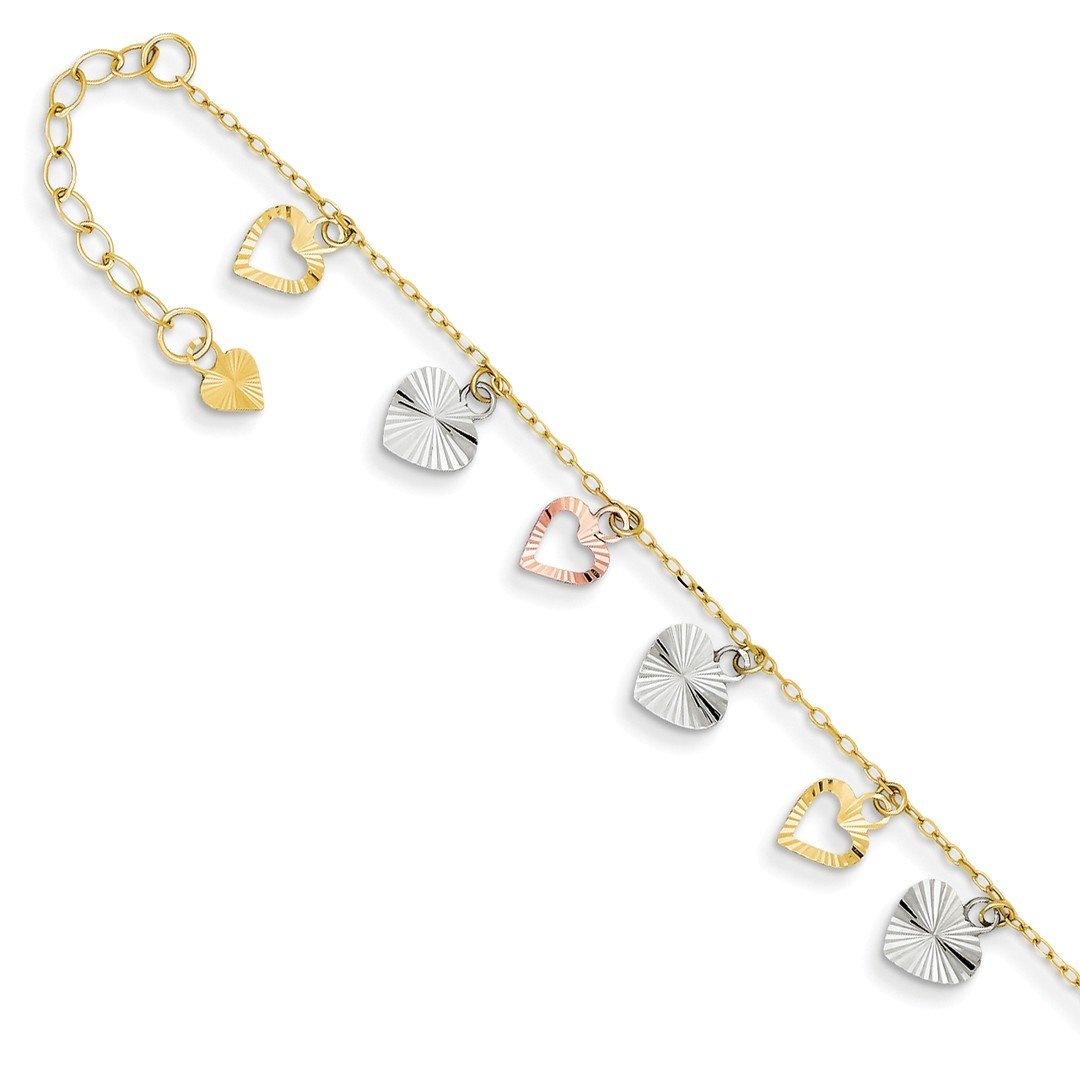 ICE CARATS 14k Tri Color Yellow White Gold Adjustable Chain Plus Size Extender Heart Anklet Ankle Beach Bracelet Fine Jewelry Gift Set For Women Heart