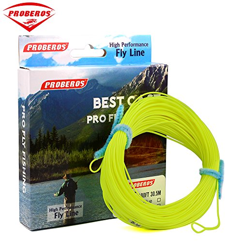 Proberos Fly Line With Weight Forward Enhanced Welded Loop Floating Fly Fishing Line (Yellow,3F)