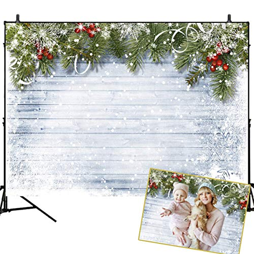 Mehofoto Christmas Backdrops for Photography White Snowflake Background 7x5ft Grey Wood Newborn Baby Portrait Photo Studio Prop