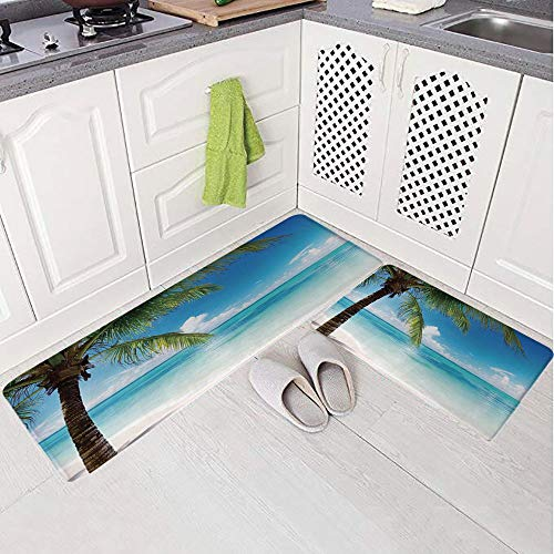 2 Piece Non-Slip Kitchen Mat Rug Set Doormat 3D Print,Palm Tree by The Shore with Clear Sky Landscape,Bedroom Living Room Coffee Table Household Skin Care Carpet Window Mat, (State Florida Landscape Seminoles)