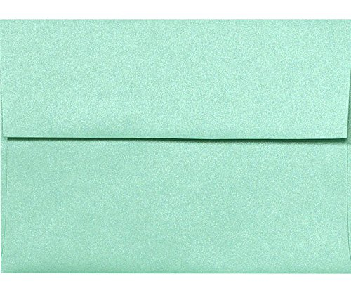 A7 Invitation Envelopes w/Peel & Press (5 1/4 x 7 1/4) - Lagoon Green Metallic (50 Qty) | Perfect for Invitations, Announcements, Sending Cards, 5x7 Photos | Printable | 80lb Paper | 5380-27-50