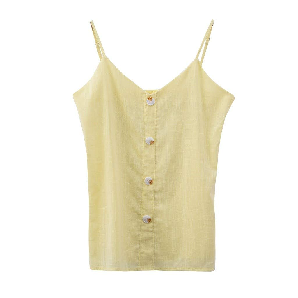 2019 Women's Button Down V Neck Strappy Tank Tops Loose Casual Sleeveless Shirts Blouses (Yellow, S)